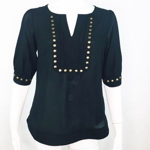 41 HAWTHORN STUDDED SHEER POPOVER PINTUCK BLOUSE